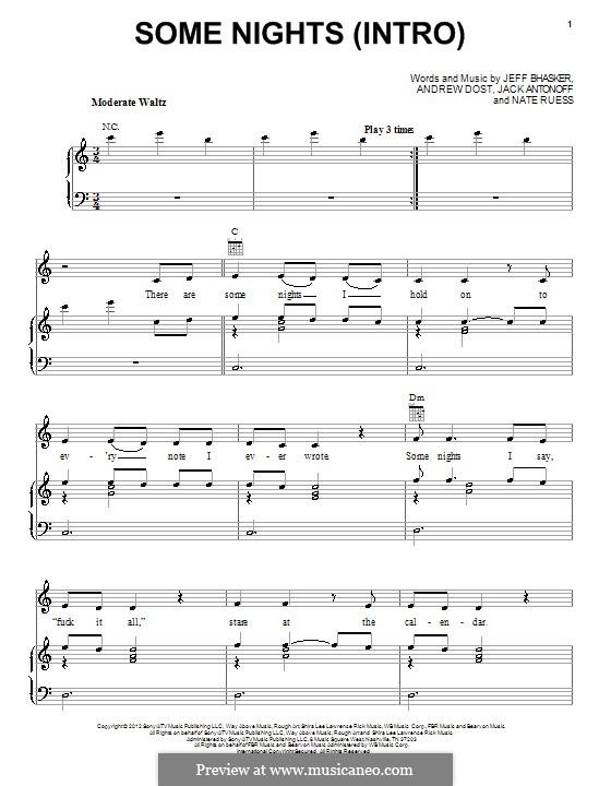 Some Nights (Fun): Für Stimme und Klavier (oder Gitarre) by Jeff Bhasker, Jack Antonoff, Andrew Dost, Nathaniel Ruess