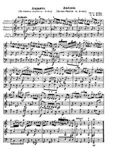 Sonate-Partita für zwei Violinen (oder zwei Klarinetten) und Cello (oder Fagott): Andante by Georg Matthias Monn