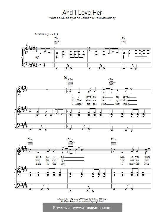 And I Love Her (The Beatles): Für Stimme und Klavier (oder Gitarre) by John Lennon, Paul McCartney