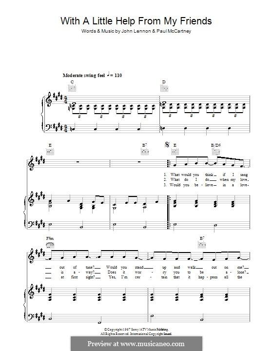 With a Little Help from My Friends (The Beatles): Für Stimme und Klavier (oder Gitarre) by John Lennon, Paul McCartney