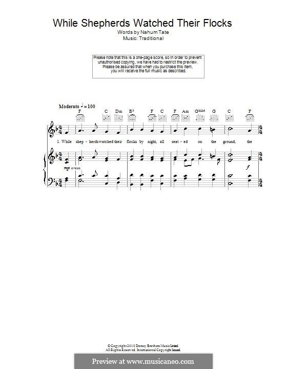 While Shepherds Watched Their Flocks: Für Stimme und Klavier (oder Gitarre) by folklore