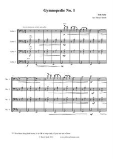 Gymnopédies: No.1, for mixed level cello ensemble (quartet) by Erik Satie