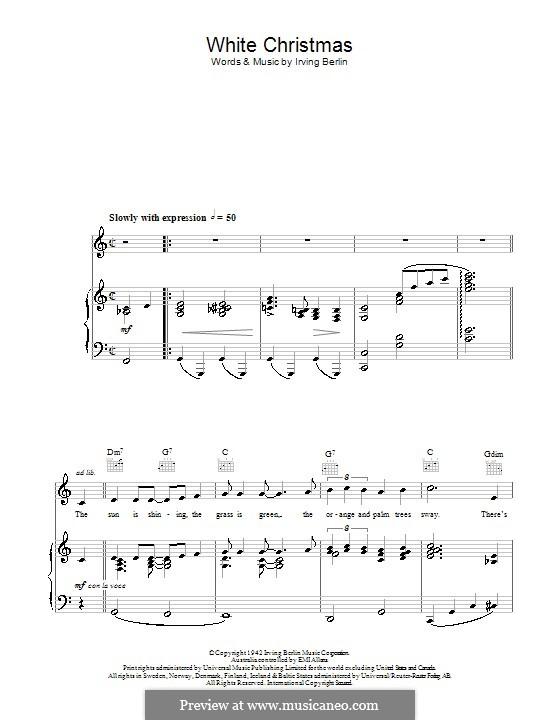 White Christmas: Für Stimme und Klavier (oder Gitarre) by Irving Berlin