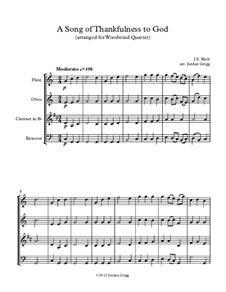 A Song of Thankfulness to God (Father, We Thank Thee): For woodwind quartet by Johann Sebastian Bach