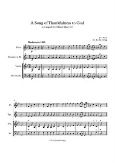 A Song of Thankfulness to God (Father, We Thank Thee): For mixed quartet by Johann Sebastian Bach