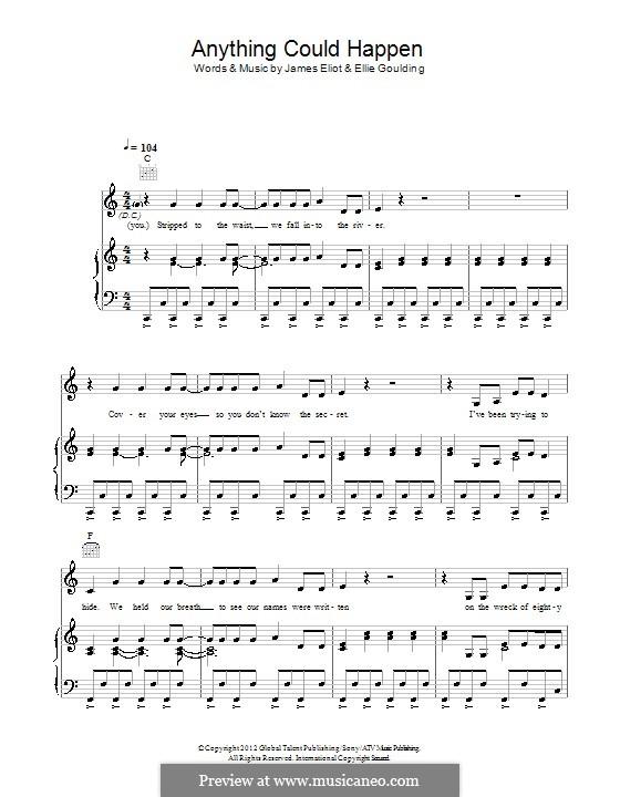 Anything Could Happen: Für Stimme und Klavier (oder Gitarre) by Ellie Goulding, James Eliot