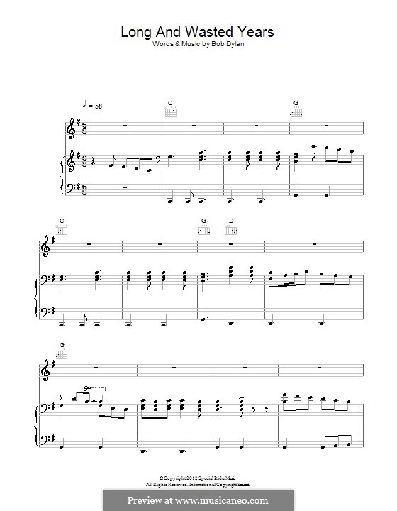 Long and Wasted Years: Für Stimme und Klavier (oder Gitarre) by Bob Dylan