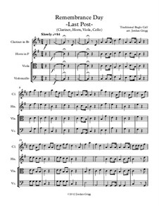 Last Post: For clarinet, horn, viola and cello by Unknown (works before 1850)