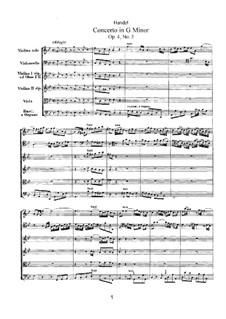 Konzert Nr.3 in g-Moll, HWV 291: Partitur by Georg Friedrich Händel