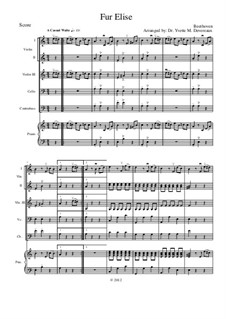 Für Elise, WoO 59: Für Streichorchester (elementary to middle school age youth) – score with violin III replacing viola by Ludwig van Beethoven
