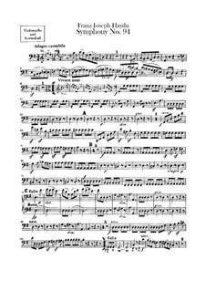 Sinfonie Nr.94 in G-Dur 'Überraschung', Hob.I/94: Cello- und Kontrabassstimme by Joseph Haydn