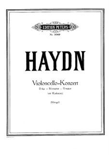 Konzert für Cello und Orchester Nr.2 in D-Dur, Hob.VIIb/2: Version für Cello und Klavier by Joseph Haydn