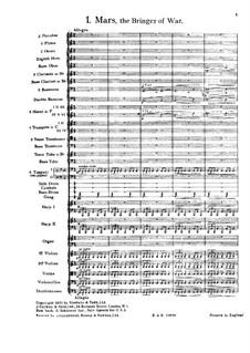Vollständige Suite: Teil I – Partitur by Gustav Holst
