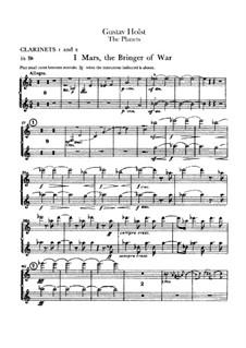 Vollständige Suite: Klarinettenstimmen by Gustav Holst