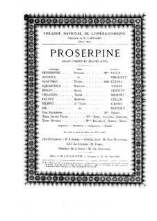 Proserpine: Akt I, für Solisten, Chor und Klavier by Camille Saint-Saëns