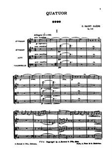 Streichquartett Nr.1 in G-Dur, Op.112: Vollpartitur by Camille Saint-Saëns