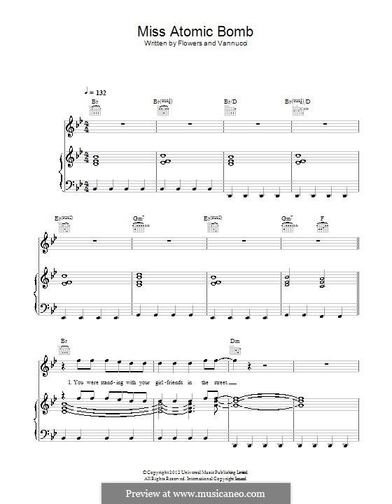 Miss Atomic Bomb (The Killers): Für Stimme und Klavier (oder Gitarre) by Brandon Flowers, Dave Keuning, Mark Stoermer, Ronnie Vannucci