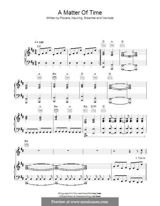 A Matter of Time (The Killers): Für Stimme und Klavier (oder Gitarre) by Brandon Flowers, Dave Keuning, Mark Stoermer, Ronnie Vannucci