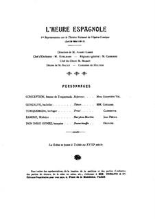 Die spanische Stunde, M.52: Klavierauszug mit Singstimmen by Maurice Ravel