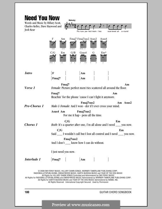 Need You Now: Text und Akkorde by Charles Kelley, David Haywood, Hillary Dawn Scott, Josh Kear