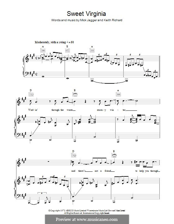 Sweet Virginia (The Rolling Stones): Für Stimme und Klavier (oder Gitarre) by Keith Richards, Mick Jagger