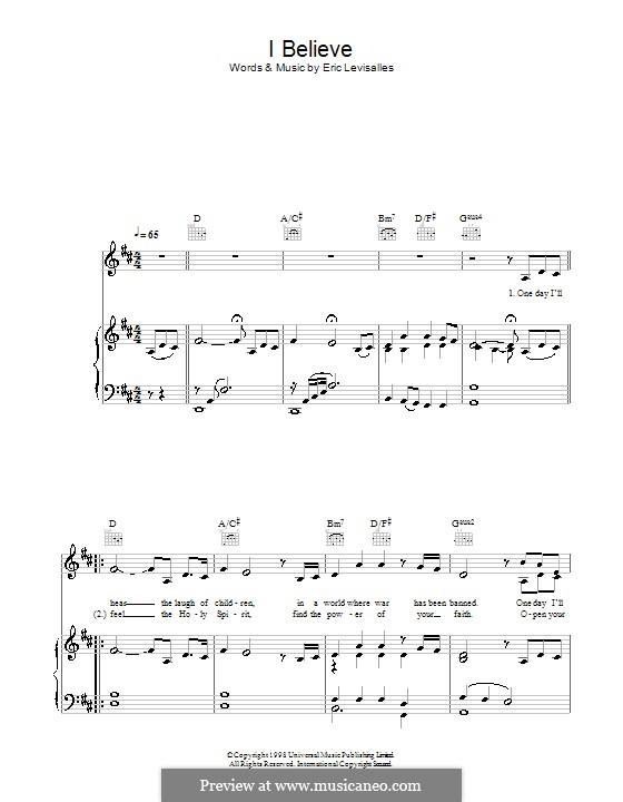 I Believe: Für Stimme und Klavier (oder Gitarre) by Eric Levisalles