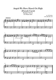 Angels We Have Heard on High: Easy piano version with fingering by Unknown (works before 1850)