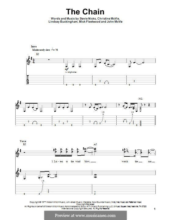 The Chain (Fleetwood Mac): Für Gitarre mit Tabulatur by Christine McVie, John McVie, Lindsey Buckingham, Mick Fleetwood, Stevie Nicks