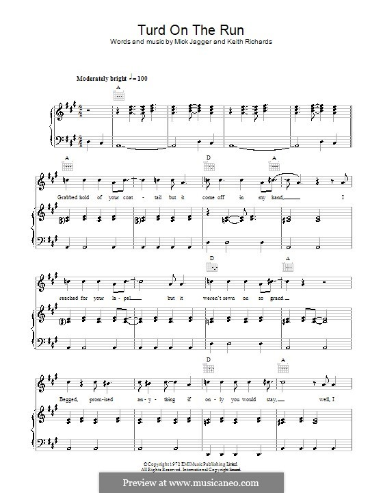 Turd on the Run (The Rolling Stones): Für Stimme und Klavier (oder Gitarre) by Keith Richards, Mick Jagger