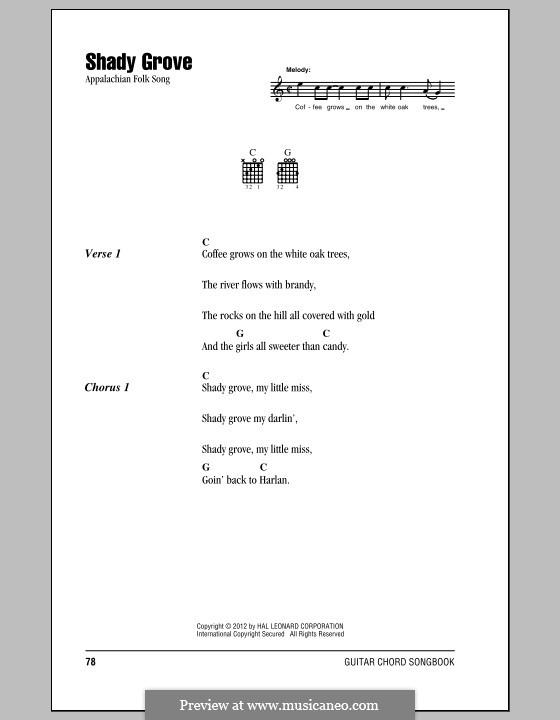 Shady Grove (with The Cuckoo): Lead sheet by folklore