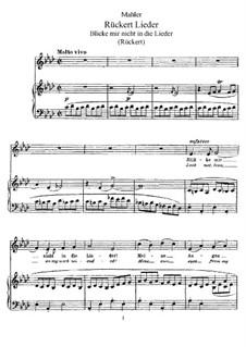 Rückert Lieder: Partitur für Stimme und Klavier by Gustav Mahler
