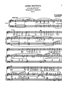 Werther: Act I. O Nature, pleine de grâce, for voice and piano by Jules Massenet
