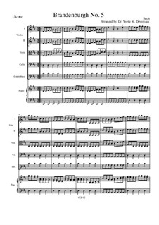 Brandenburgisches Konzert Nr.5 in D-Dur, BWV 1050: For elementary to middle school age string youth orchestras – score by Johann Sebastian Bach