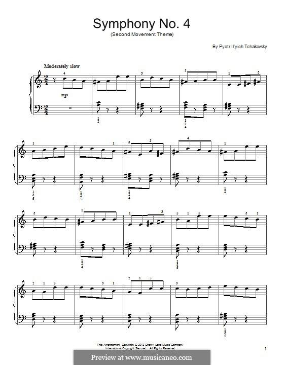Sinfonie Nr.4 in f-Moll, TH 27 Op.36: Teil II (Excerpt). Version for piano by Pjotr Tschaikowski