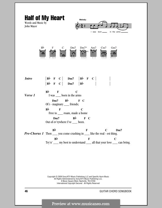Half of My Heart (John Mayer featuring Taylor Swift): Text und Akkorde by John Mayer