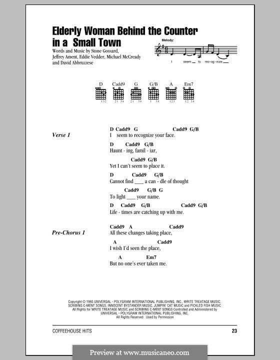 Elderly Woman Behind the Counter in a Small Town (Pearl Jam): Texte und Akkorde by David Abbruzzese, Eddie Vedder, Jeff Ament, Mike McCready, Stone Gossard