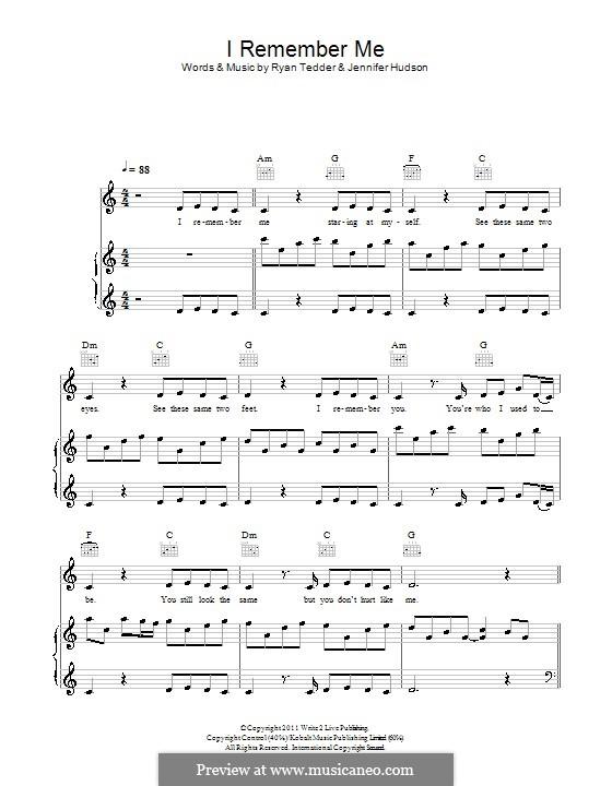 I Remember Me: Für Stimme und Klavier (oder Gitarre) by Ryan B Tedder