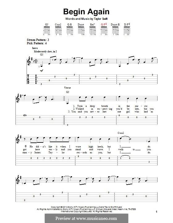 Begin Again: Für Gitarre mit Tab by Taylor Swift