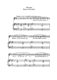 Roses d'Octobre: Für hohe Stimme und Klavier by Jules Massenet