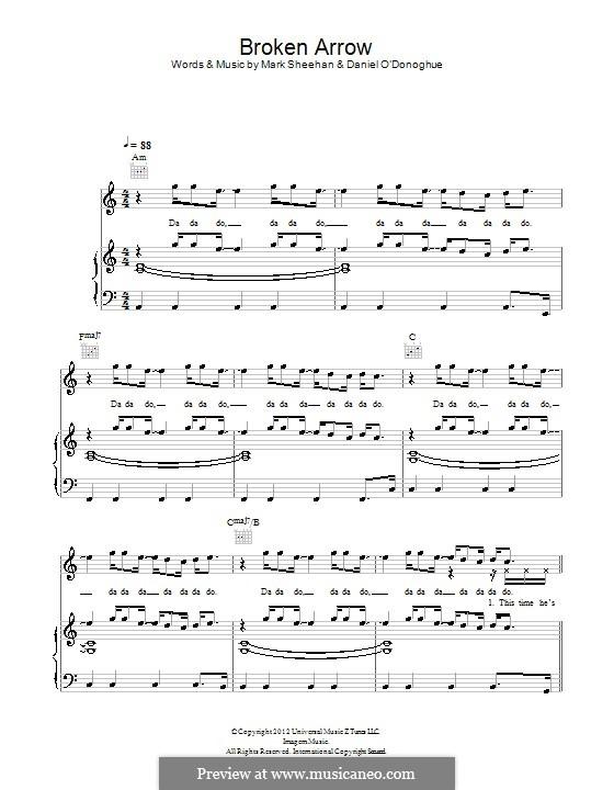 Broken Arrow (The Script): Für Stimme und Klavier (oder Gitarre) by Danny O'Donoghue, Mark Sheehan