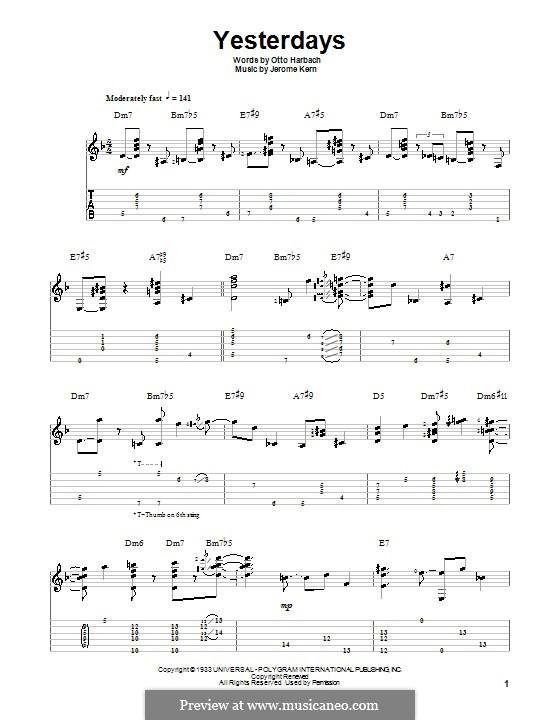 Yesterdays: Für Gitarre mit Tab by Jerome Kern