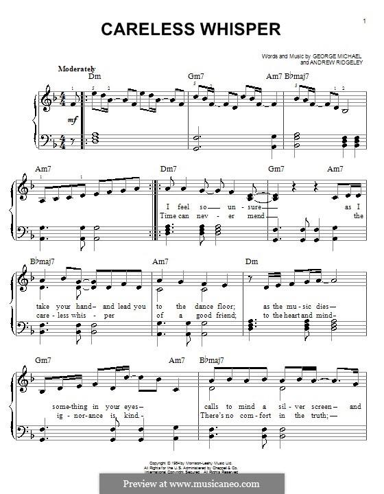 Careless Whisper: Für Klavier by Andrew Ridgeley, George Michael