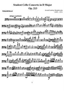 Studentenkonzert in D-Dur, Op.213: Für Cello und Klavier – Cellostimme by Arnold Mendelssohn