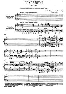 Konzert für Klavier und Orchester Nr.1 in g-Moll, Op.25: Version für zwei Klaviere, vierhändig by Felix Mendelssohn-Bartholdy