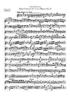 Konzert für Klavier und Orchester Nr.1 in g-Moll, Op.25: Oboenstimmen by Felix Mendelssohn-Bartholdy