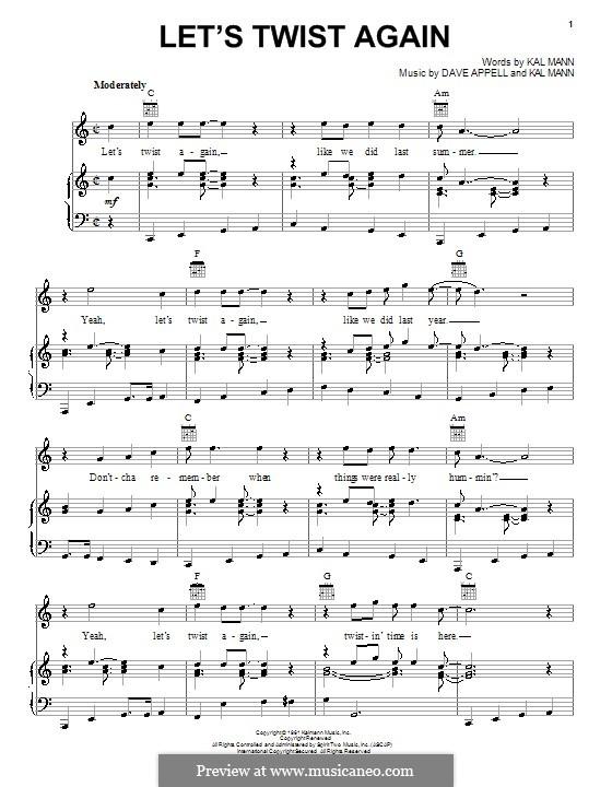 Let's Twist Again (Chubby Checker): Für Stimme und Klavier (oder Gitarre) by Dave Appell, Kal Mann