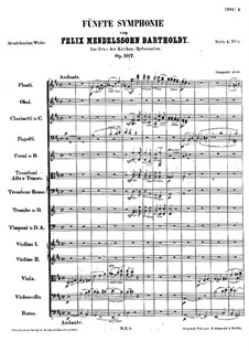Sinfonie Nr.5 in D-Dur 'Reformations-Sinfonie', Op.107: Teil I by Felix Mendelssohn-Bartholdy