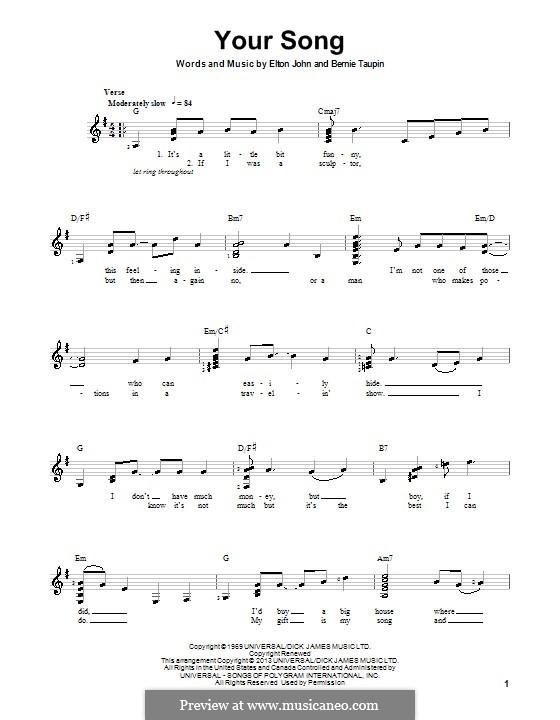 Your Song: Für Gitarre mit Tab by Elton John