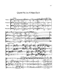 Streichquartett Nr.2 in A-Dur, Op.13: Vollpartitur by Felix Mendelssohn-Bartholdy