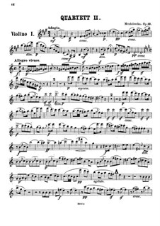 Streichquartett Nr.2 in A-Dur, Op.13: Violinstimme I by Felix Mendelssohn-Bartholdy